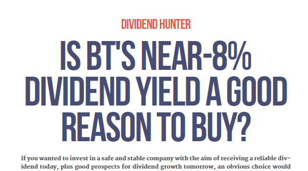 BT dividend yield cover 2018