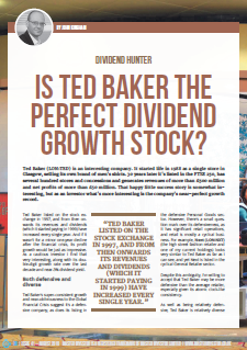 Ted Baker dividend growth stock - cover